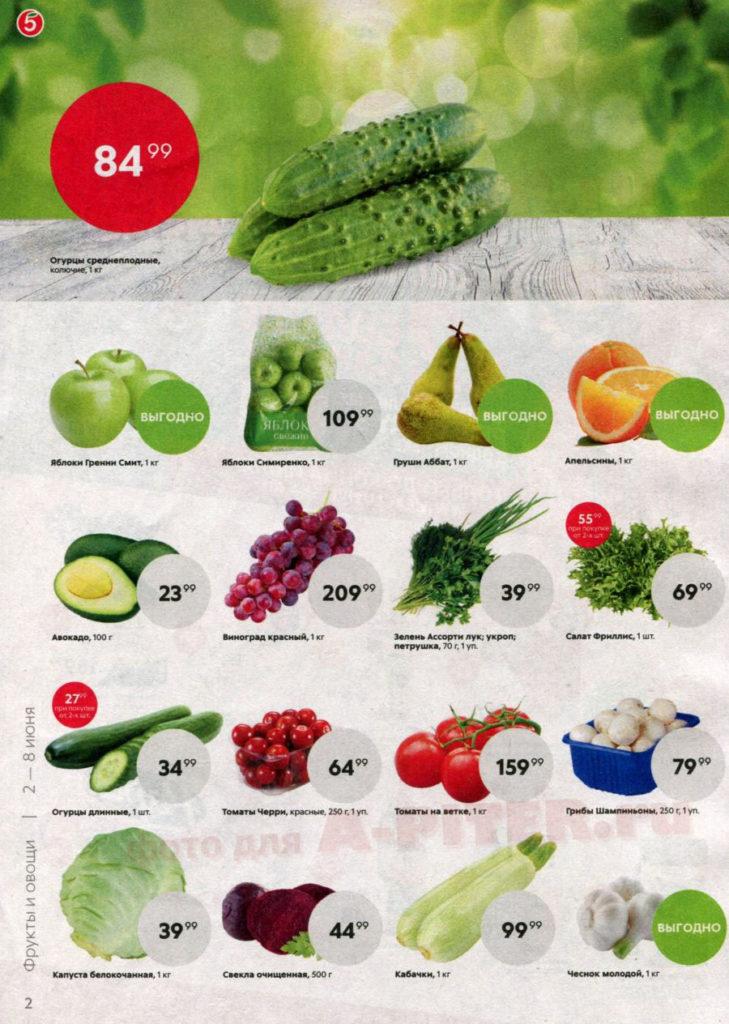 Цены и скидки на овощи фрукты в Пятерочке с 2 по 9 июня 2020 - страница 2