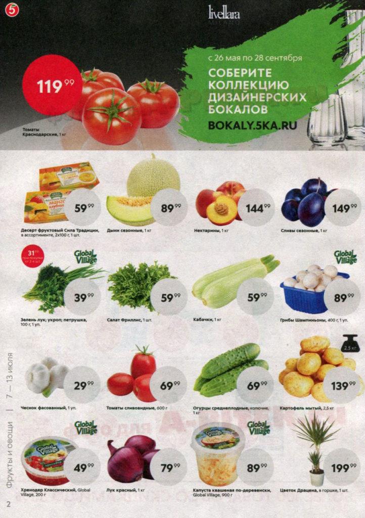 Каталог акций в Пятерочке Санкт-Петербург с 7 по 13 июля 2020 - Фрукты и овощи