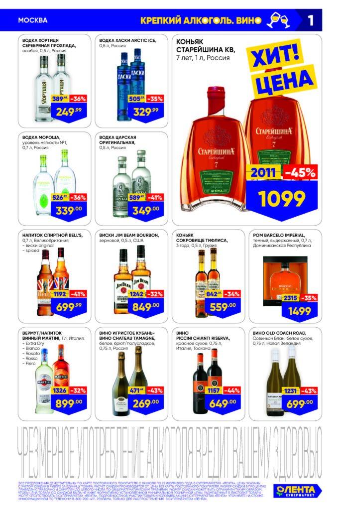 Каталог акций в супермаркетах Лента Москва с 9 по 22 июля 2020 - Крепкий алкоголь и вино